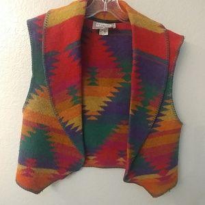 Vintage Western style blanket vest